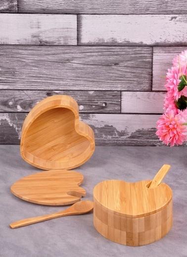 Bayev Ahşap Bambu Kalp Tekli Kaşikli Baharatlık Renkli